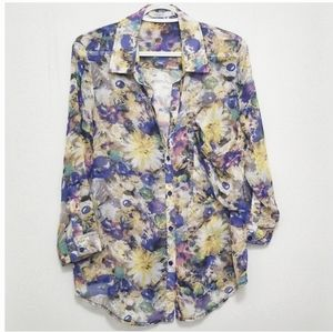 Lucy & Co Floral Blouse With Button Detail Size L